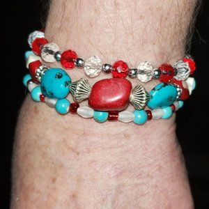 Natural Coral and turquoise, crystal Bracelet